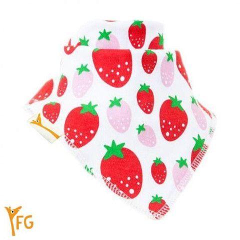 Baby Bandana Bib - White with Red & Pink Strawberries – Baby Luno