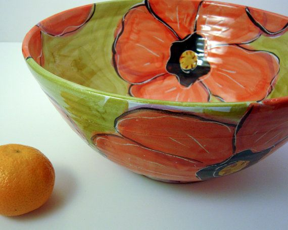 Handmade Large Majolica Pottery Serving Bowl Earthenware Clay Red Poppy Flower on Olive Green Clay Lick Creek Pottery