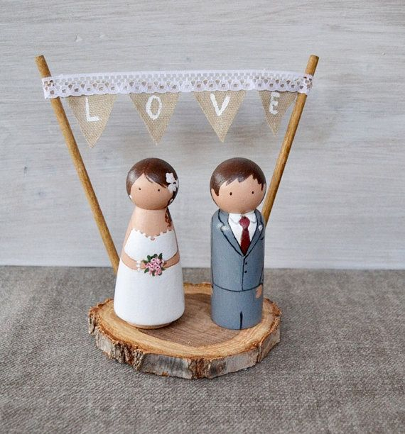 Wooden Peg Cake Topper. Rustic Wedding Cake by handANAhada on Etsy