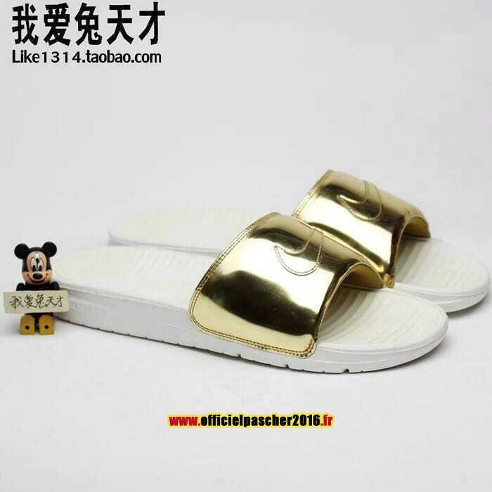 Officiel Nike Benassi JDI QS Nike sandales Pas Cher Pour Homme doré