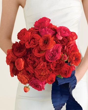 Red rose and ranunculus bouquet.