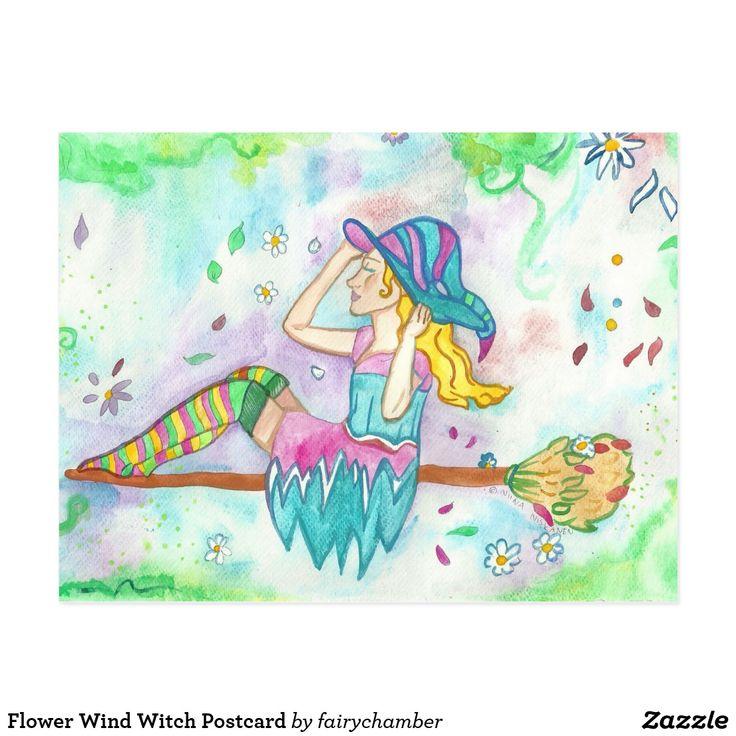 Flower Wind Witch Postcard