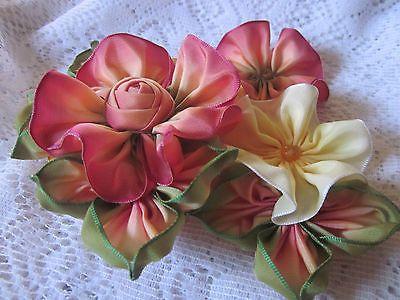 Vintage Style French Ombre Millinery Ribbon Flower Pin Ribbonwork | eBay