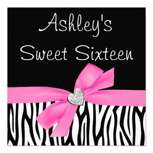 Zebra Pink Bow Diamond Sweet 16 Invitations
