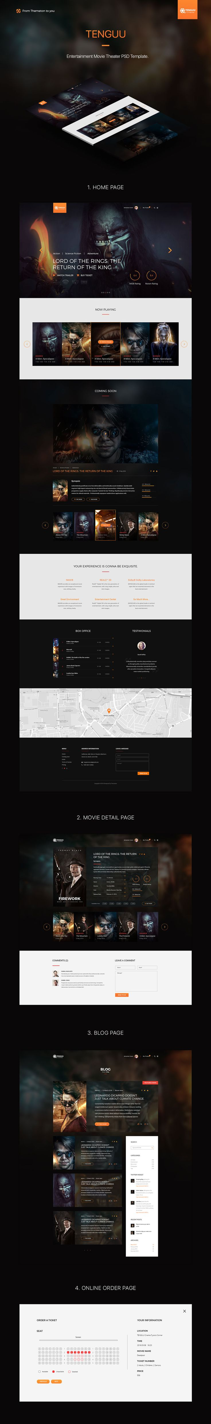 Tenguu Cinema - Movie Theater PSD Website Template • Download ↓ https://themeforest.net/item/tenguu-cinema-movie-theater-template/15249765?ref=pxcr
