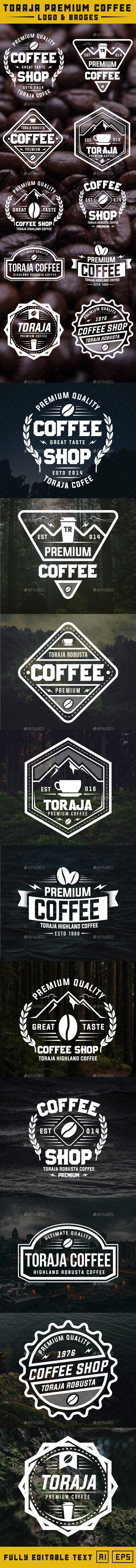 Toraja Premium Coffee Logo & Badges - #Badges & Stickers Web Elements