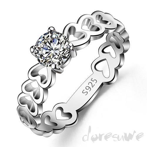 Doresuwe.com SUPPLIES AAAジルコン絶妙ハーツ925スターリングシルバー女性の約束/ウェディングリング 指輪