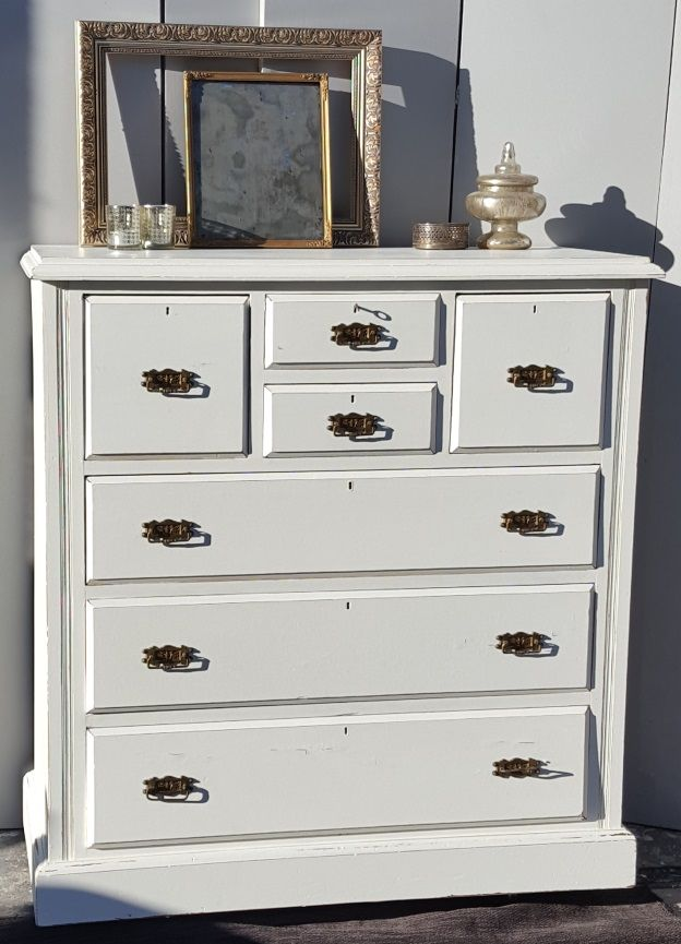 Lovely large chalk painted chest of drawer, slightly distressed then sealed with a clear wax for durability