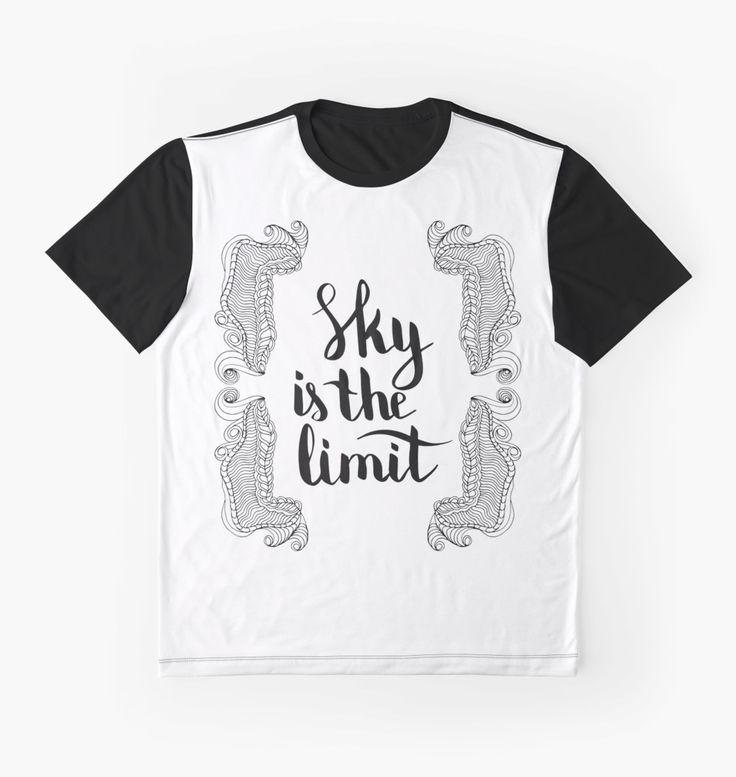 Sky is the limit. Black text and doodle frame on white background.
