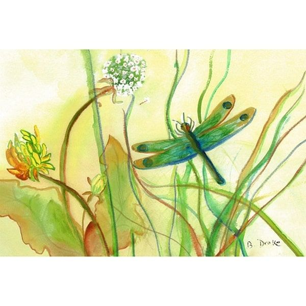 Betsy Drake Dragonfly Polyester Door Mat