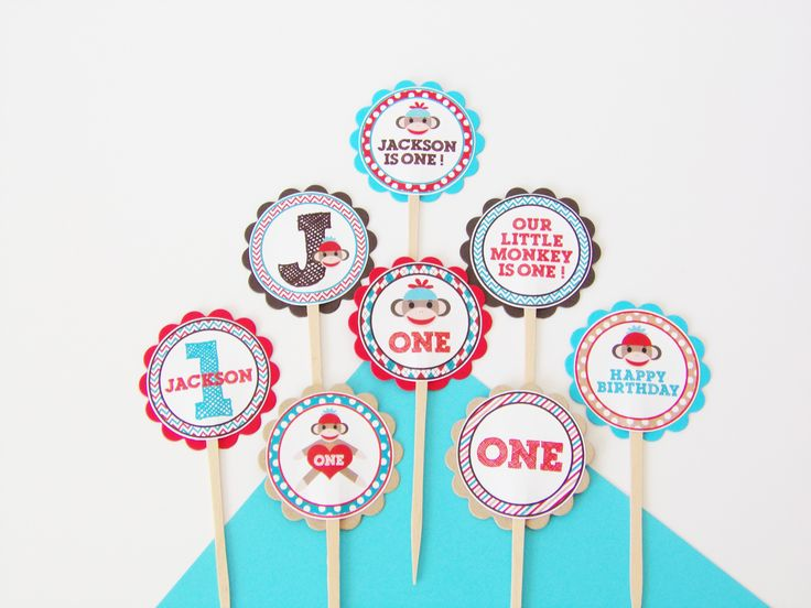 Sock Monkey Cupcake Toppers