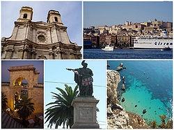 Cagliari Montage. Top left: Saint Anna Cathedral, top right: View of Cagliari Port, Via Rome Square and historical area, bottom left: San Remy Bastion, bottom center: Carto Felice Statue in Yanne Square, bottom right: Sella the Dicuolo Coast