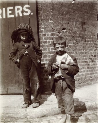 Two young 'street urchins' in Redcrosstreet ,London. 1901 (Google search)