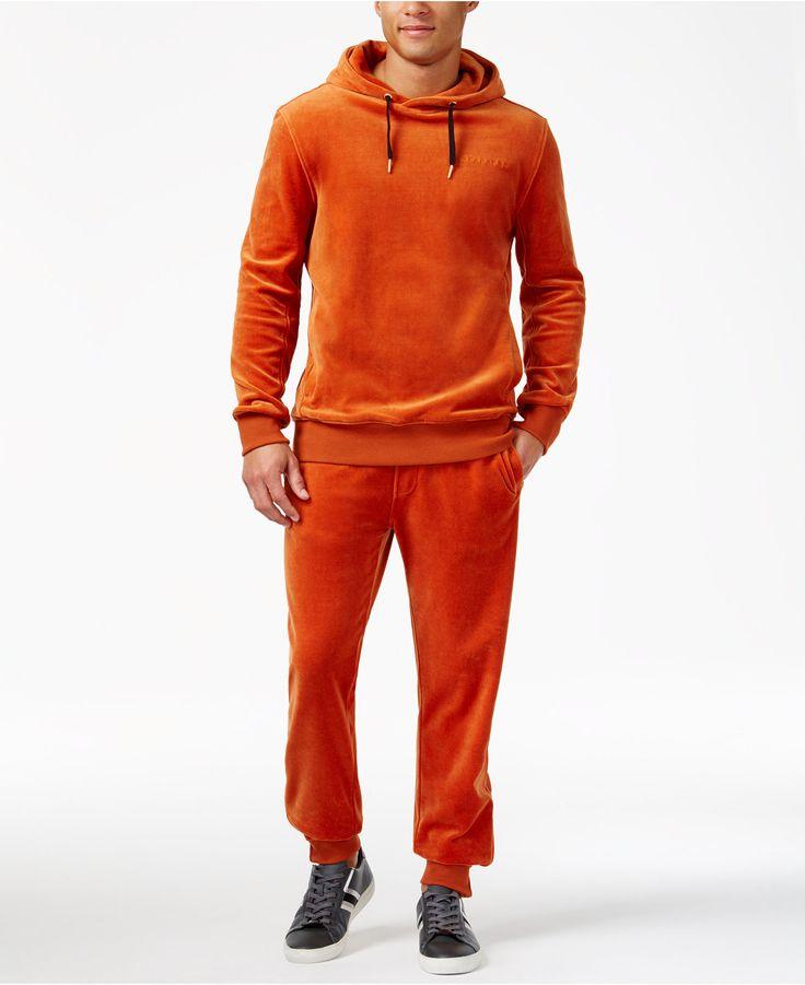 Sean John Men's Velour Tracksuit Separates in orange, black and blue.