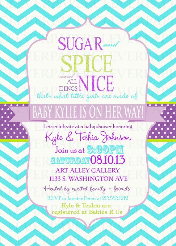 Girls Baby Shower Invitation Sugar U0026 Spice Purple By Paperclever