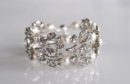 Handmade Vintage Inspired Crystal Rhinestone & Pearl Bracelet