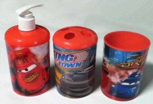 3 Pc Disney Pixar Cars Bath Set Dispenser Toothbrush Holder