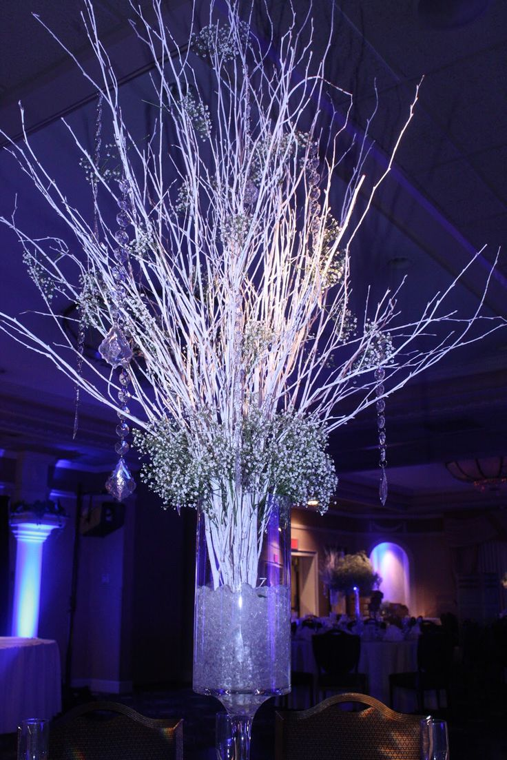 Christmas wedding white and birch branches on