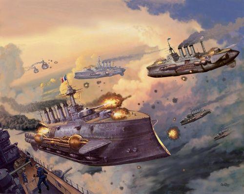 Steampunk Airships Battle Steampunk Airship Battle