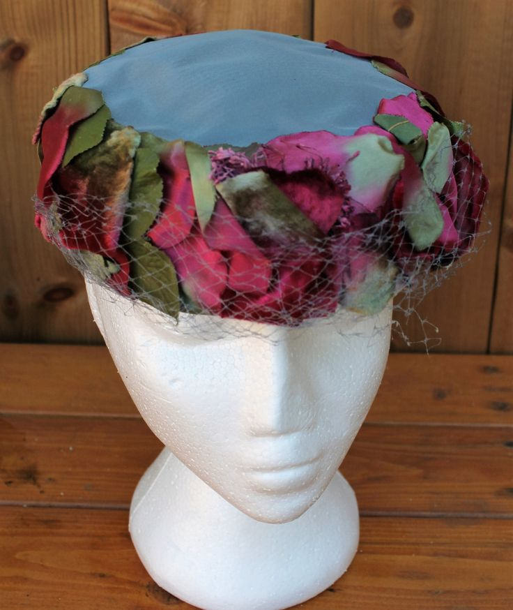 Vintage Ladies' Jackie Kennedy French Blue Silk and Silk and Velvet Petal Pill…