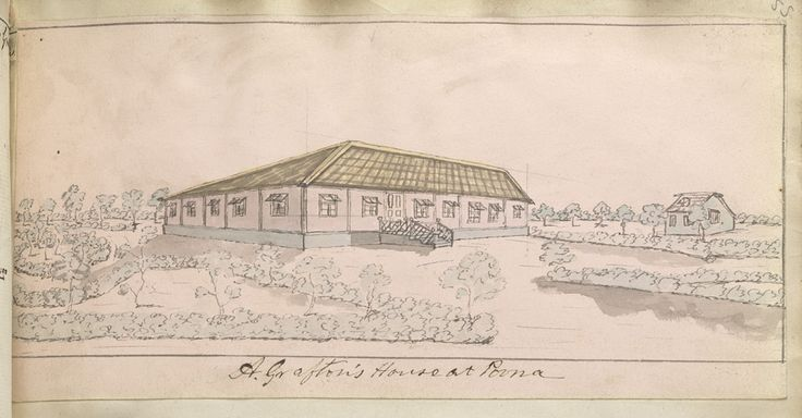 Pen-and-ink and wash drawing of Major Augustus Grafton's house at Pune