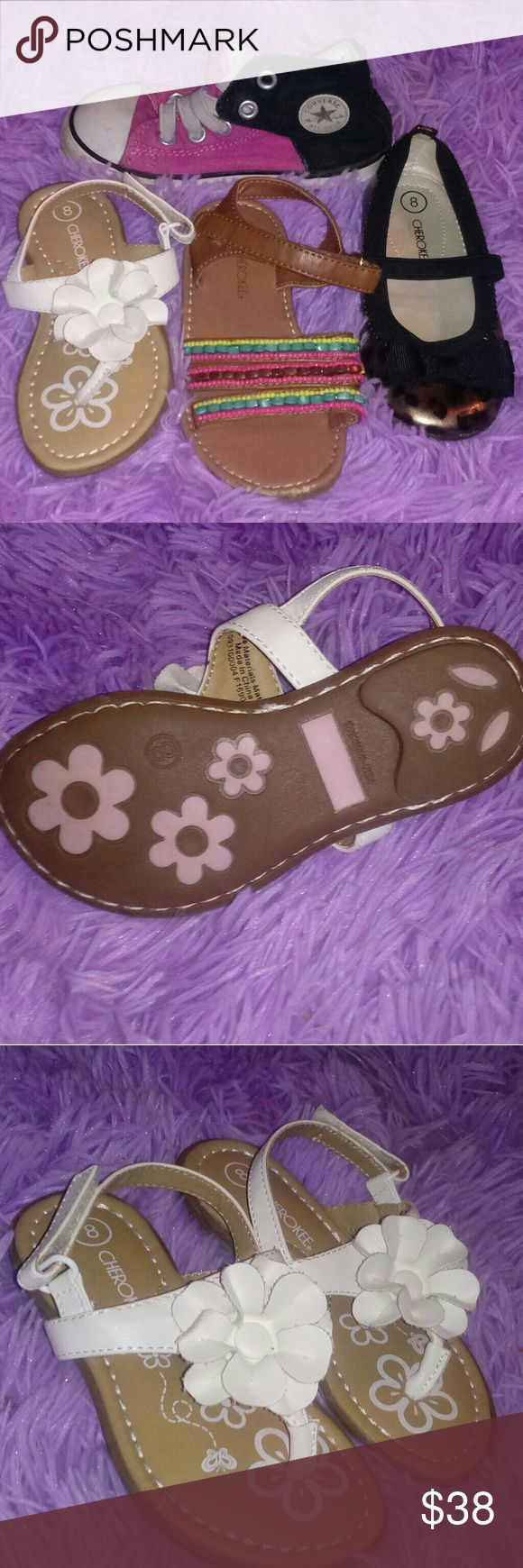 BUNDLE! GIRLS SUMMER SHOES SIZE 8 TODDLER! Bundle of 4 pairs of toddler girl footwear! ALL SIZE 8 1 leopard pair of flats w bow, 1 white pair of strappy flower sandals, 1 hippie boho beaded pair of sandals, & 1 pair of slip on velcro side pink/black converse.  THE SANDALS/FLATS are barely worn! In great shape, might have one or two BARELY noticable marks. THE CONVERSE are well worn! Still very wearable but have good bit of scuff marks/fading present. Let them get messy, great play shoes for…