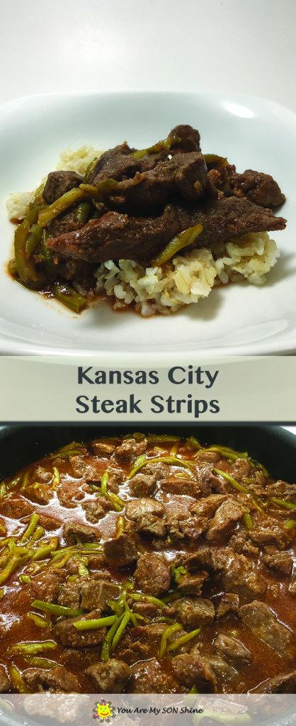 Kansas City Steak Strips. Dinner recipe with steak, green beans, rice, and chili sauce