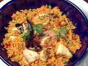 Shellfish and Chicken Paella with Saffron Rice Chorizo and Green Peas Recipe : Bobby Flay : Food Network