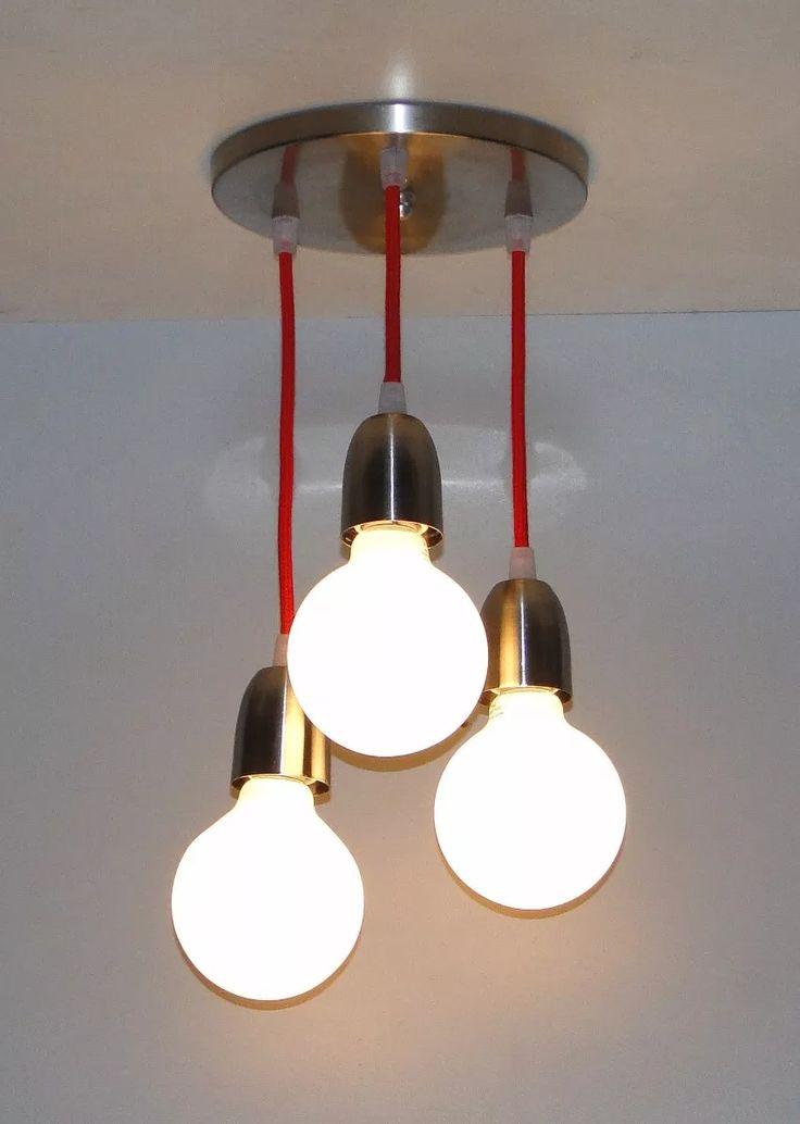 lampara colgante triple cable textil p/globo o bajo consumo,