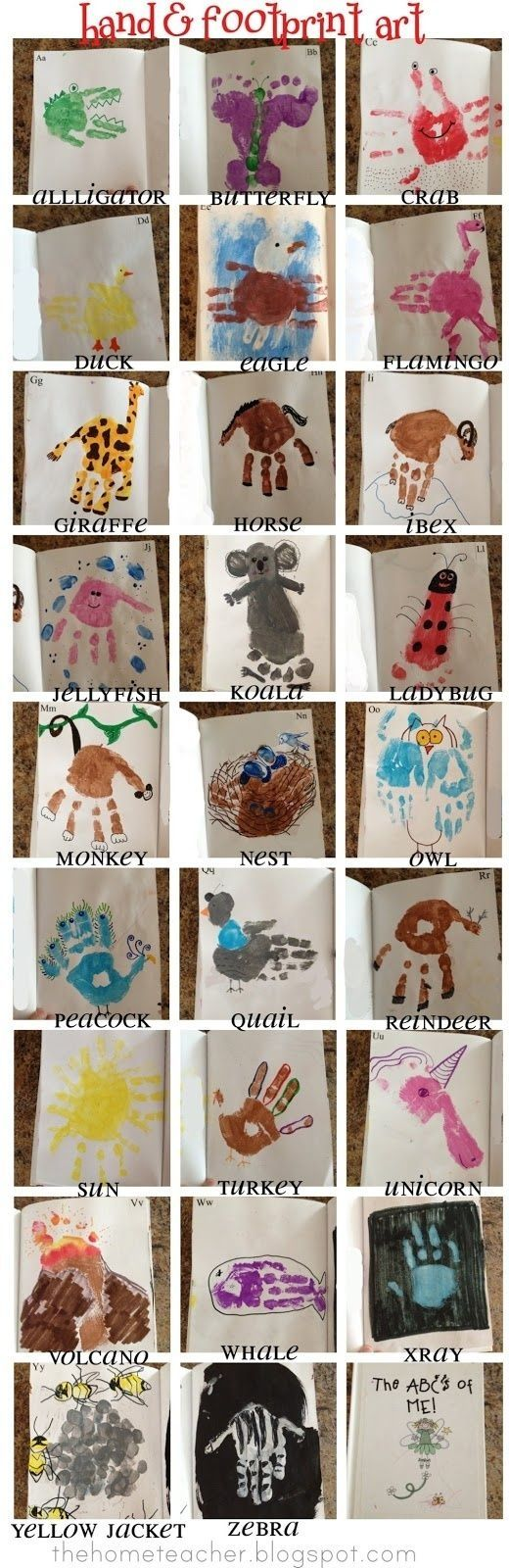 Handprint ABC craft. Cute idea and would be fun to do one as you introduce each letter, then bind into books at the end. by Brown Sparkle