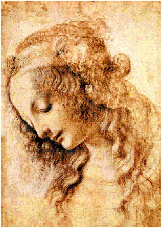 Leonardo Da Vinci Portrait of the Virgin Mary Counted Cross Stitch Pattern Chart PDF Download by Stitching Addiction
