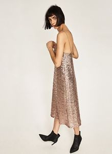 ZARA NEW AW 2016 Collection LONG SEQUINNED DRESS 2298/221 SIZE XS Nude Pink