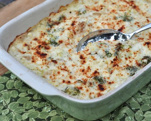 Smashed Potatoes & Broccoli Casserole, a rustic, creamy potato and broccoli casserole ♥ KitchenParade.com.
