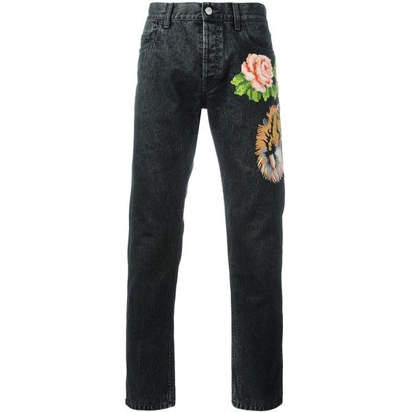 Gucci Tiger And Floral Appliqué Tapered Jeans (22,470 MXN) ❤ liked on Polyvore featuring men's fashion, men's clothing, men's jeans, gucci mens jeans, mens slim fit tapered jeans, mens embroidered jeans, mens button fly jeans and mens tapered jeans
