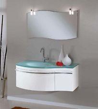 mobile arredo bagno completo pensile 100cm bianco lavabo specchio rubinetto luce