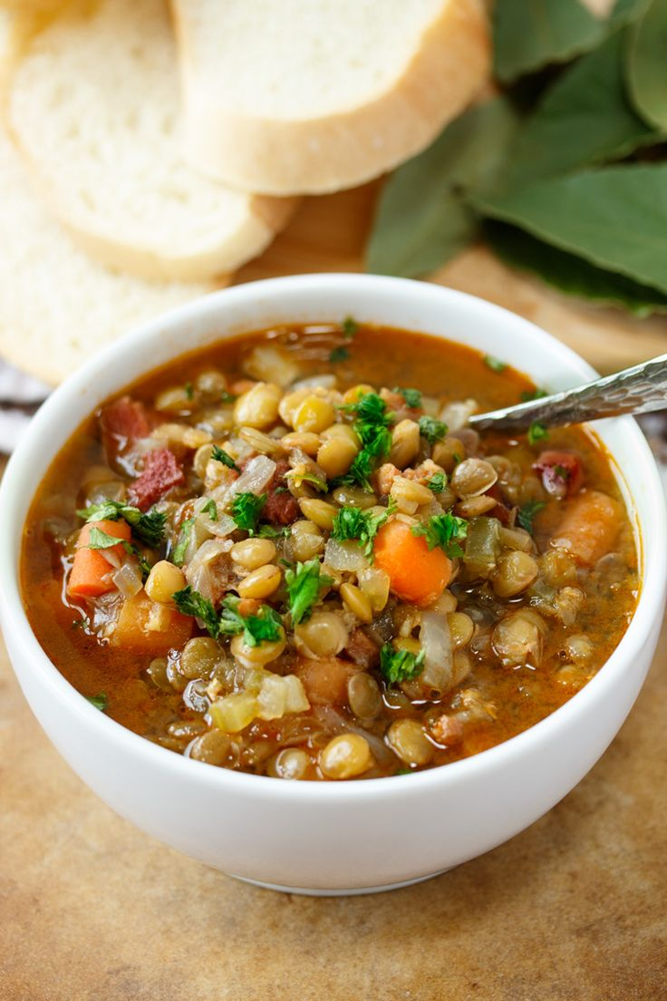 A simple and savory combination of beef stock, chicken stock, ham, vegetables, and lentils.