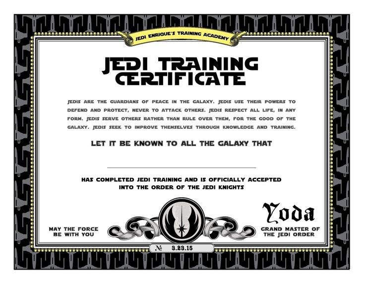 Jedi Training Certificate - Star Wars - Birthday party | Click on the image to get it at Etsy!  www.pea-nut.com
