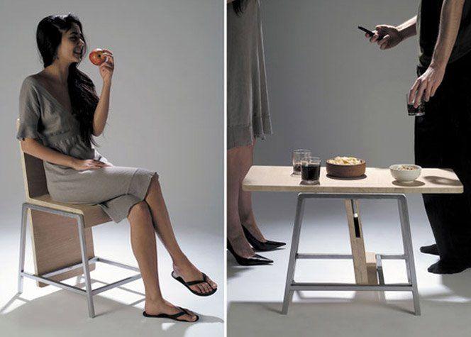 O móvelXY mistura a funcionalidade de uma mesa com uma cadeira, no mesmo produto.Criação da designer francêsAïssa Logerot.Fonte