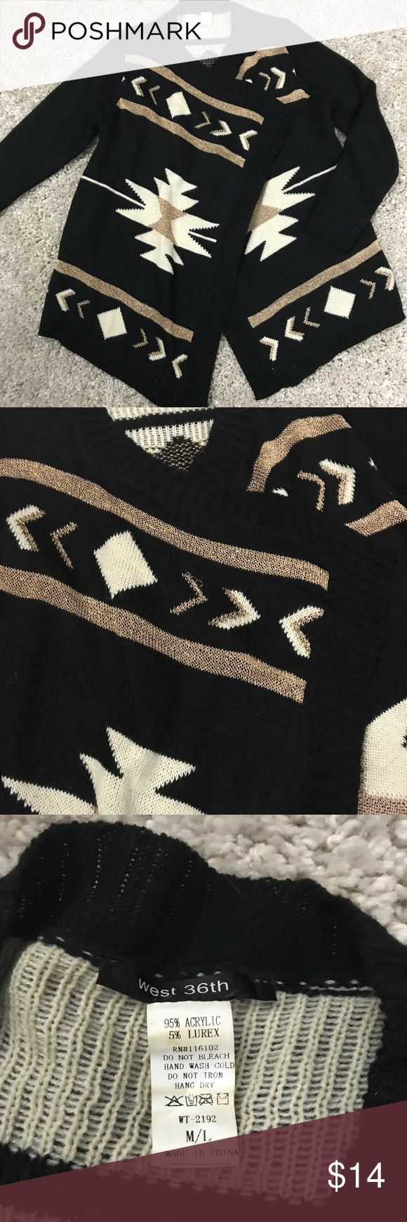 Tribal print cardigan size M/L Tribal print black cardigan with glitter detail. Size M/L west 36th Sweaters Cardigans