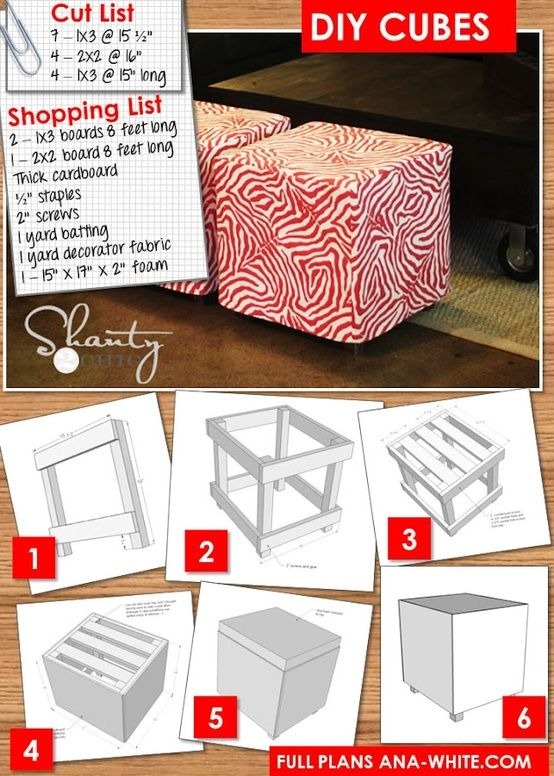 DIY Furniture How to build a simple upholstered ottoman cube for less than $20. Pick your own fabric, make your own color!