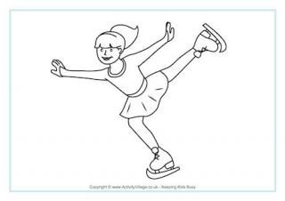 Figure Skating Colouring Page