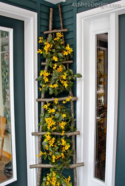 diy branch ladder for climbing vines or hanging small pots of flowers and plants:
