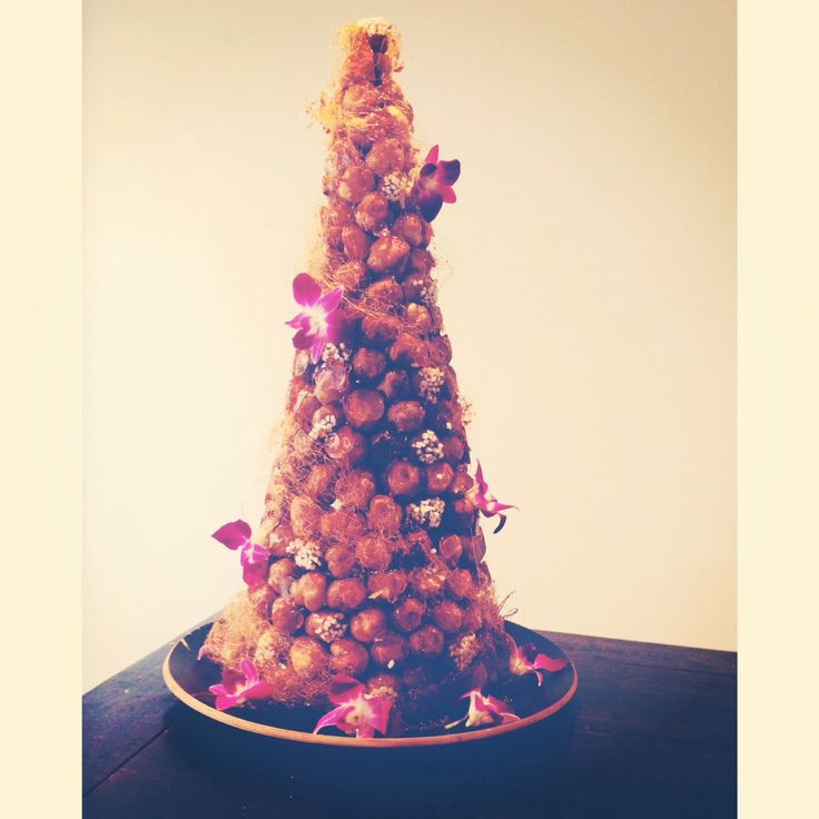 Croquembouche made using Adriano Zumbo's recipe. Puffs filled with vanilla creme patissiere. Delicious!