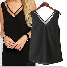 Γυναικεία μόδα V-Neck Vest Καλοκαιρινό χαλαρό αμάνικο Casual Tank T-Shirt Μπλούζα