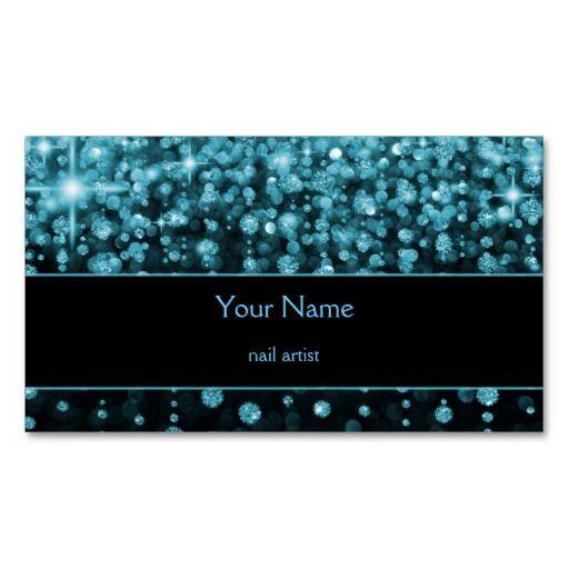 sparkle aqua blue bokeh Business Card