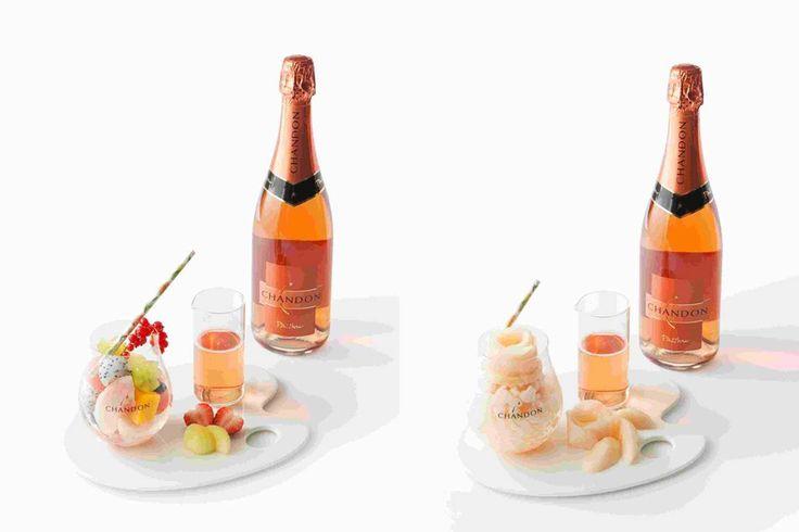左から、フルーツポンチ ~シャンドン パッション~ ¥1,800、桃のグラニテ ~シャンドン パッション~ ¥1,200