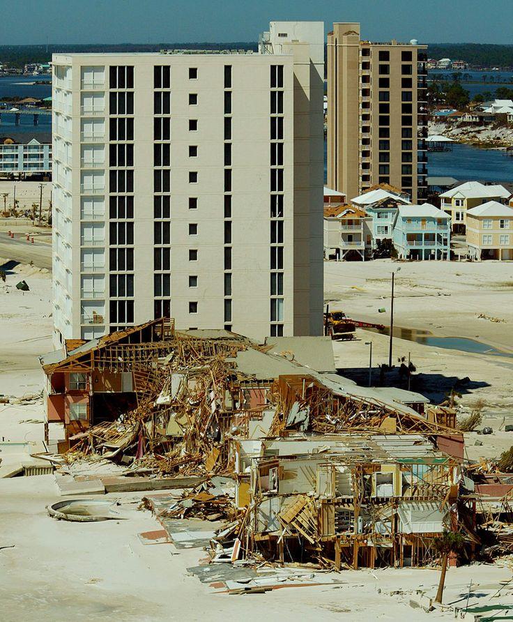 Beachfront condominiums damaged by Hurricane Ivan in 2004.