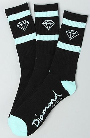 The Diamond Hi Og Logo Socks in Black & Diamond Blue by Diamond Supply Co.