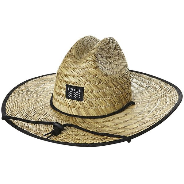 Swell Straw Hat Natural ($12) ❤ liked on Polyvore featuring men's fashion, men's accessories, men's hats, accessories, mens hats, natural, mens straw hats, mens wide brim sun hat and mens wide brim straw hat