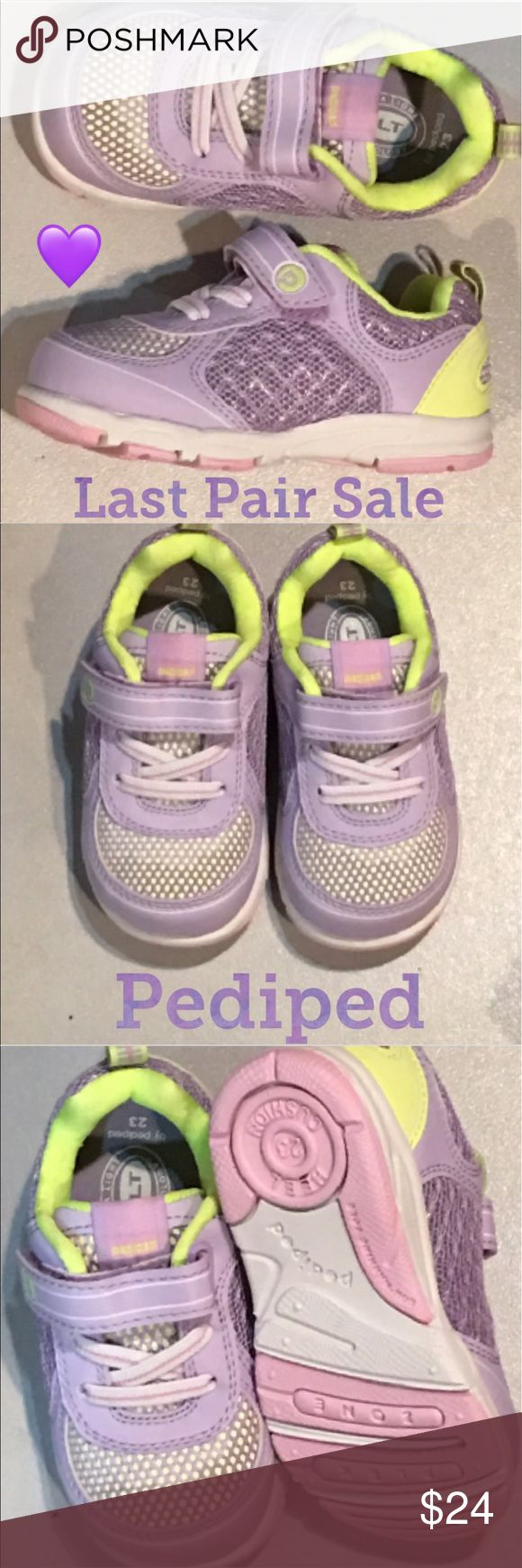 New Pediped Toddler Girls Sneaker Last Pair sale and plz forgive the photos because the lighting was poor.... this is a size 7 that runs a bit small... Cute lavender and ofc easy on easy off Velcro straps.😊 pediped Shoes Sneakers